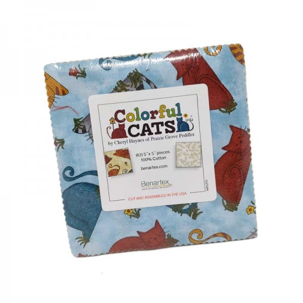 Benartex Colorful Cats 5x5 Pack