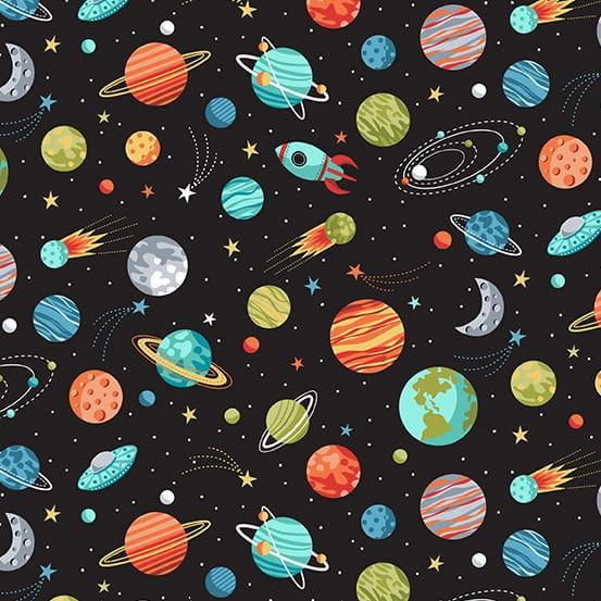 Outer Space Planets Black (TP-2270-X) von Makower UK