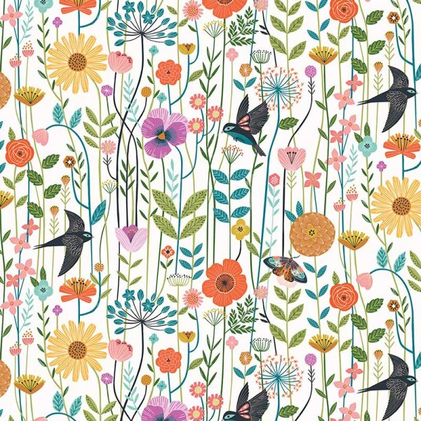 Aviary Swallows in the Meadow Natural (AVIA-1722) von Dashwood Studio