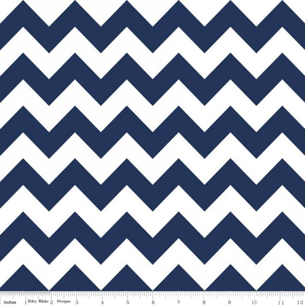 Medium Chevron Flannel Navy (F320-21 NAVY) von Riley Blake