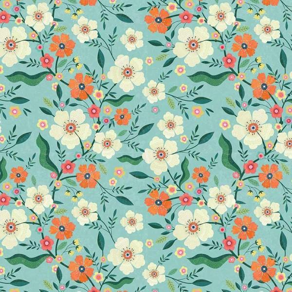 Hedgerow Floral Blue (HEDG1839) von Dashwood Studio