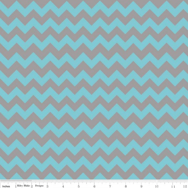 Small Chevron Flannel Aqua/Gray (F400-09 AQUA/GRAY) von Riley Blake