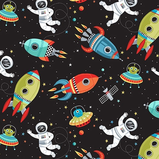 Outer Space Scene Black (TP-2267-X) von Makower UK
