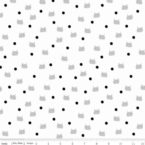 Meow and Forever Dots Weiß (C7844-WHITE) von Riley Blake