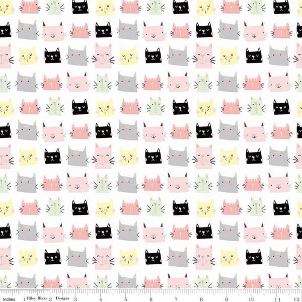 Meow and Forever Heads Weiß (C7841-WHITE) von Riley Blake