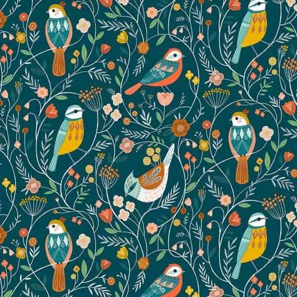 Aviary Birds on Teal (AVIA-1723) von Dashwood Studio