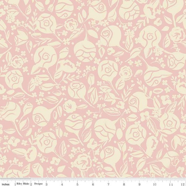 Beauty and the Beast Floral Pink (C9532-PINK) von Riley Blake