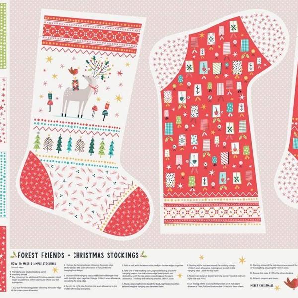 Forest Friends Christmas Stocking Panel (FOR1844) von Dashwood Studio